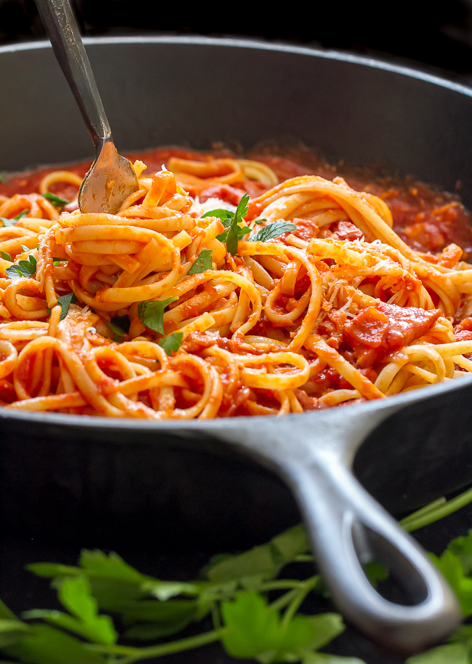 Pasta with Amatriciana Sauce (or All'amatriciana) is simple, satisfying and delicious!
