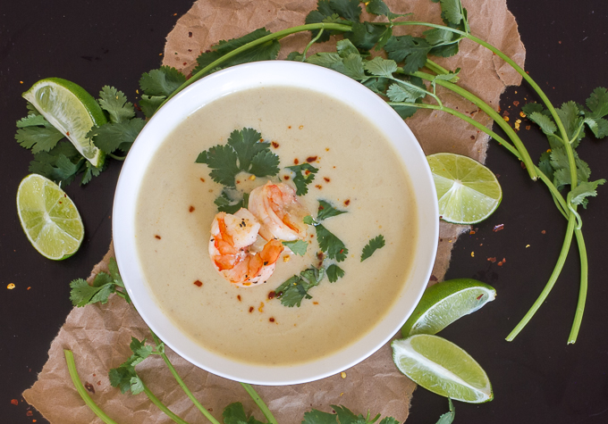 Thai coconut curry cauliflower soup with shrimp