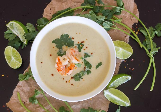 Thai coconut curry cauliflower soup with shrimp