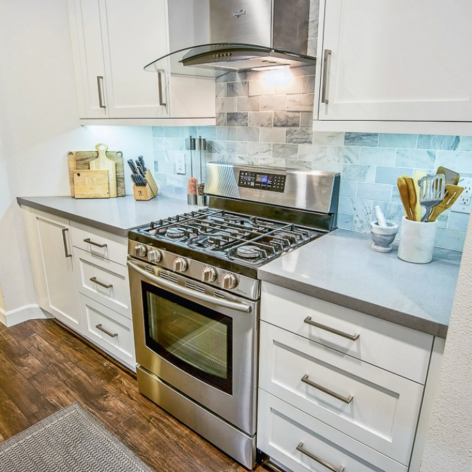 Kitchen counter staged to sell without clutter and extra appliances