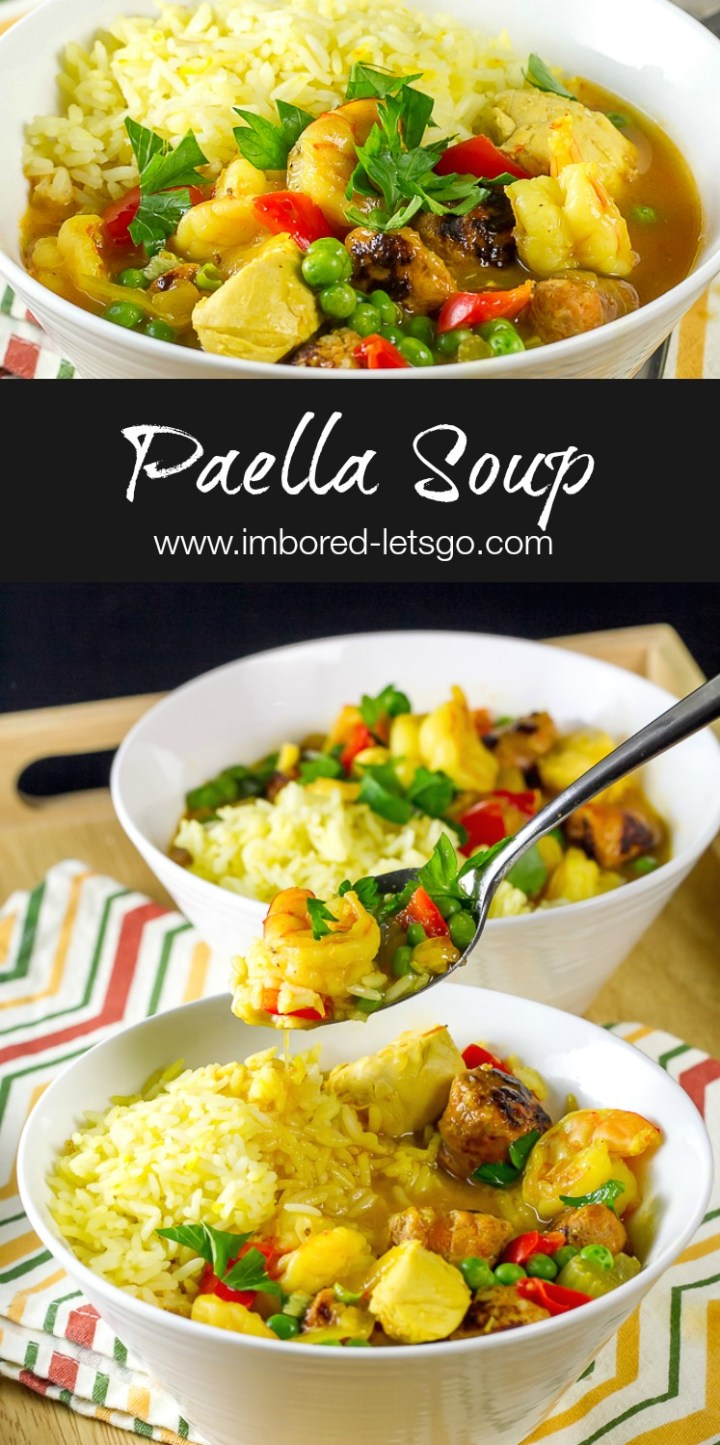 This soup is inspired by delicious Paella, with chicken, shrimp and chorizo. It's simple, tasty and sure to please!
