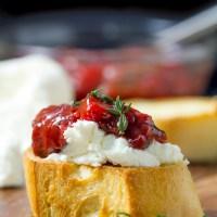 Strawberry Chutney and Goat Cheese Bruschetta