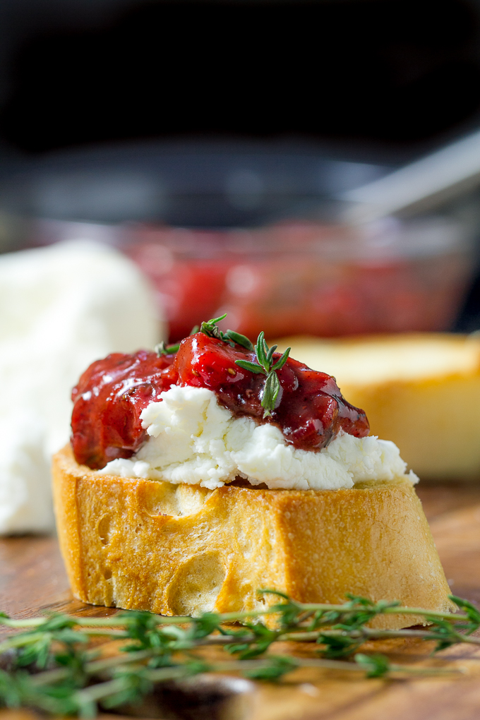 Strawberry Chutney and Goat Cheese Bruschetta