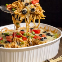 Mexican Spaghetti Bake made with pantry staples