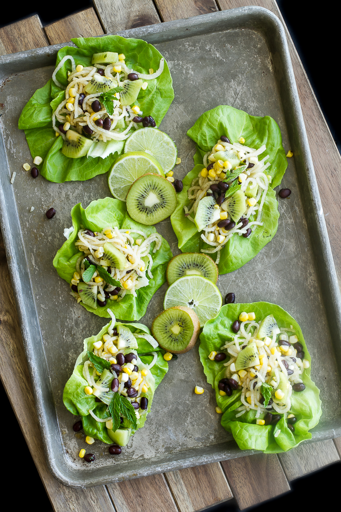 Jicama, Kiwi, Corn, Black Bean Lettuce Wraps with Honey Mint Dressing
