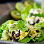 Jicama, Kiwi, Corn, and Black Bean Lettuce Wraps