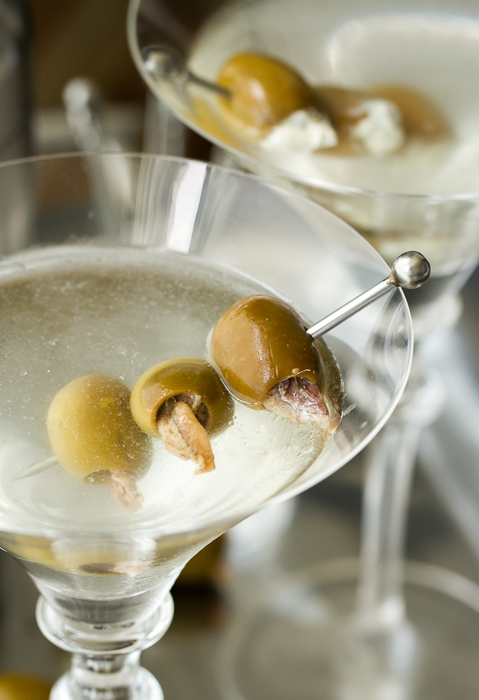 Classic Gin Martini with Anchovy Stuffed Olives