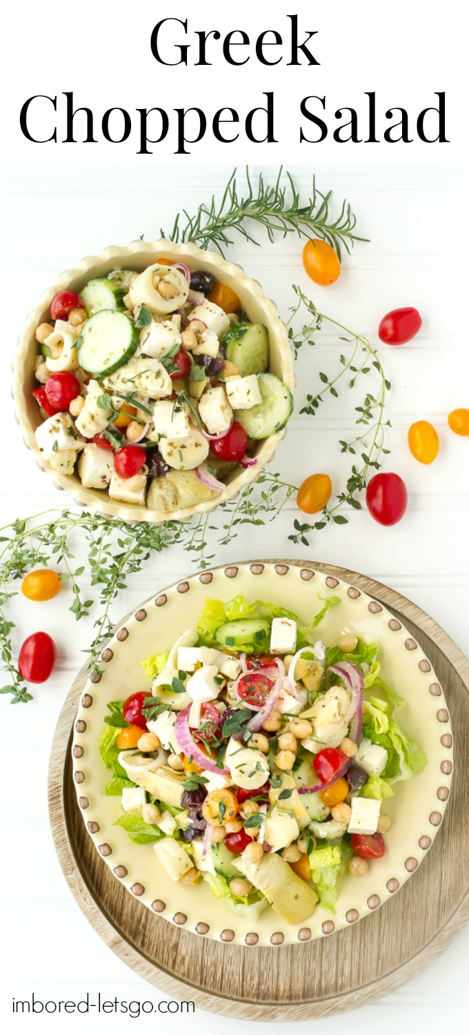 Greek Chopped Salad with feta, Kalamata olives, artichoke hearts, tomatoes, cucumbers and a delicious homemade greek salad dressing.