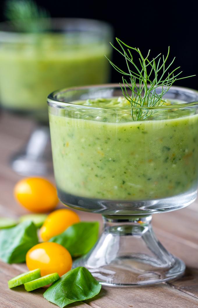 Green Gazpacho with Avocado, Cucumber, Basil, Fennel