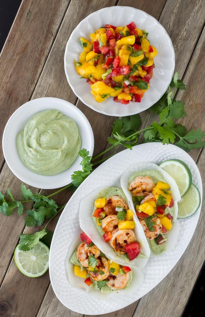 Chipotle Grilled Shrimp Jicama Street Tacos