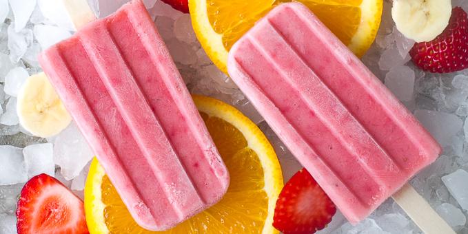 Strawberry Orange Banana Popsicles