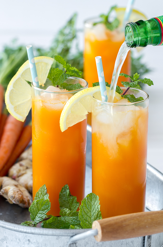 "Fresh carrot juice, ginger, mint and ginger beer combine to make a delicious and refreshing cooler. This cocktail can be made a ""mocktail"" just omit the booze!"