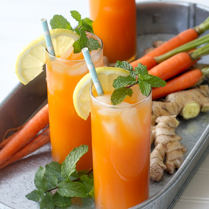 Ginger Mint Carrot Coolers - can be made with or without alcohol