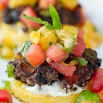 Polenta & Black Bean Cakes with Orange Basil Mint Salsa