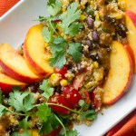 Quinoa Salad with Black Beans Corn and Peaches