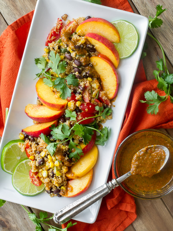 Southwestern Quinoa Salad with black beans, corn, peaches and chipotle vinaigrette
