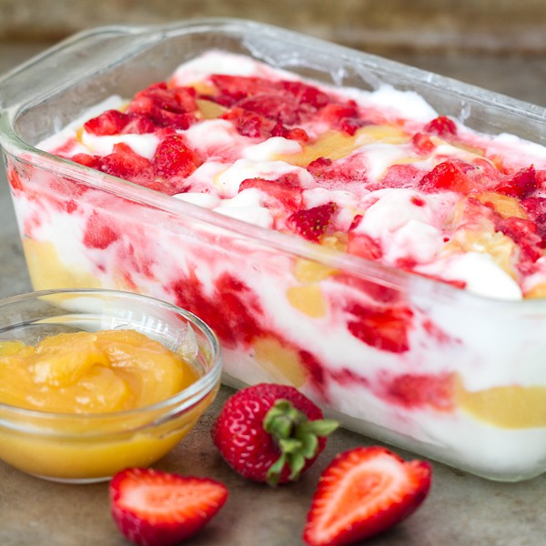 Limoncello Frozen Yogurt with Strawberries and Lemon Curd