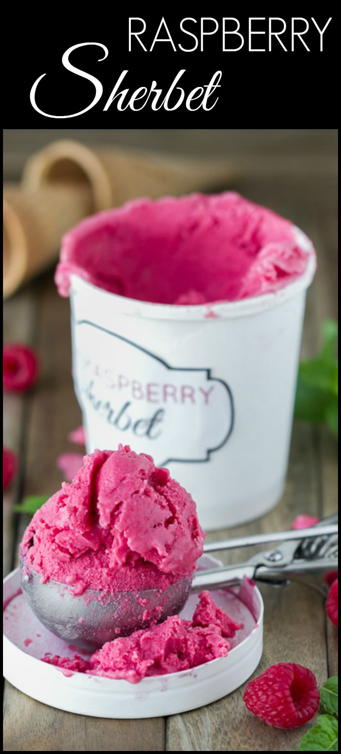 Creamy Raspberry Sherbet made with mint simple syrup and buttermilk.  A fantastic combination of tart and sweet!