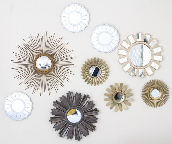 Decorative mirrors on wall