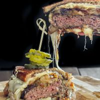 Patty Melt with bacon and caramelized onions