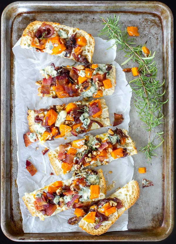 Roasted Butternut Squash, Bacon, Blue Cheese and Caramelized Onion Pizza