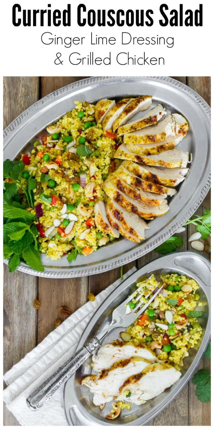Curried Couscous Salad tossed in a Ginger Lime Dressing and served with grilled chicken. Omit the chicken for a perfect vegetarian meal. Healthy and delicious!