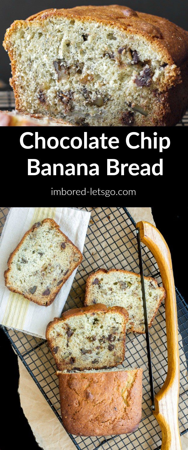 Chocolate Chip Banana Bread - moist, not too dense, and delicious! This recipe has walnuts but you can add more chocolate chips if you prefer.