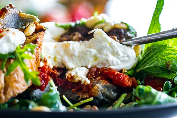 Artichoke Burrata Stacked Salad