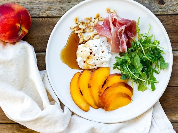Peach Prosciutto Ricotta Arugula Pizza Ingredients
