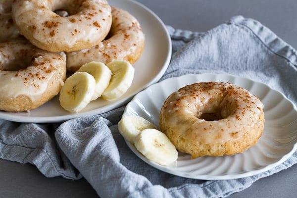 Glazed Baked Banana Donuts