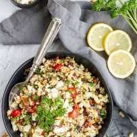 "Bowl of roasted Mediterranean Cauliflower ""Couscous"""