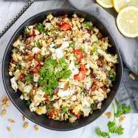 Bowl of Mediterranean roasted cauliflower