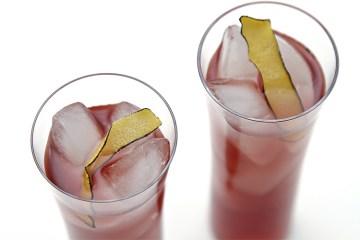 黑醋栗鸡尾酒用椰子水和烧焦的柠檬皮