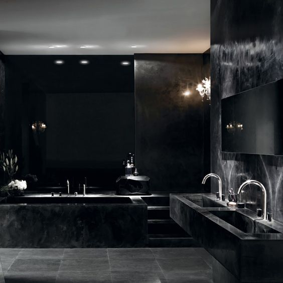 decoración en negro y gris para baños
