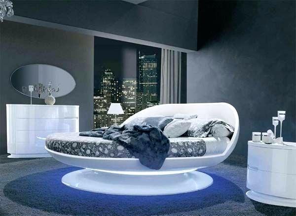 habitación con muebles futuristas