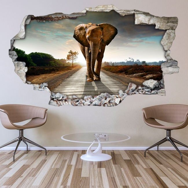 vinilos-decorativos-para-paredes-elefante-3d