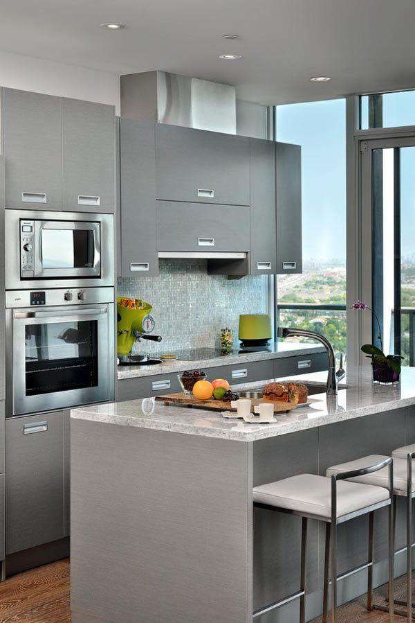 decoración de cocinas pequeñas modernas y elegantes - grises