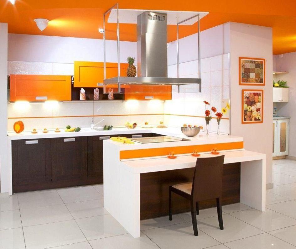decoración de cocinas pequeñas modernas y elegantes - naranja
