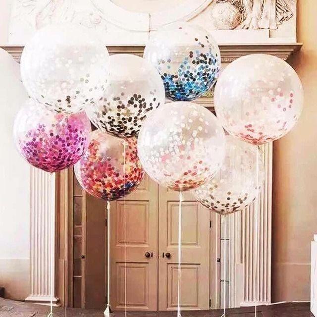 decoración con globo confeti