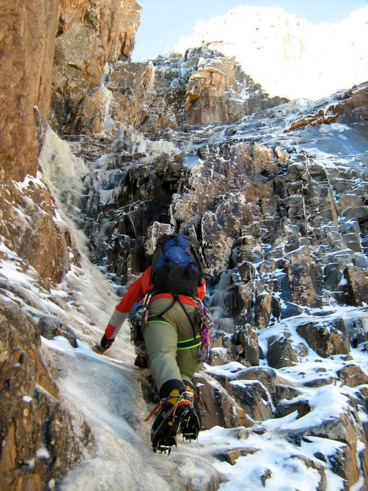 Ryan Stefiuk climbing the thin start to the Black Dike, early November some years back.