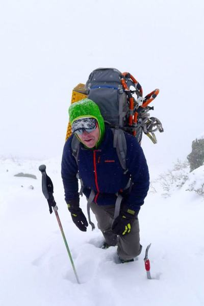 Day one: Duncan cruising up King Ravine. A whiteout and crazy snow conditions mad staying on the trail and out of the gullies the best option.