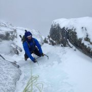 Larry getting some alpine fun in on Odell's Gully.
