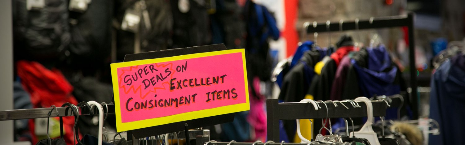 Consignment outdoor equipment and clothing at International Mountain Equipment in North Conway, New Hampshire.