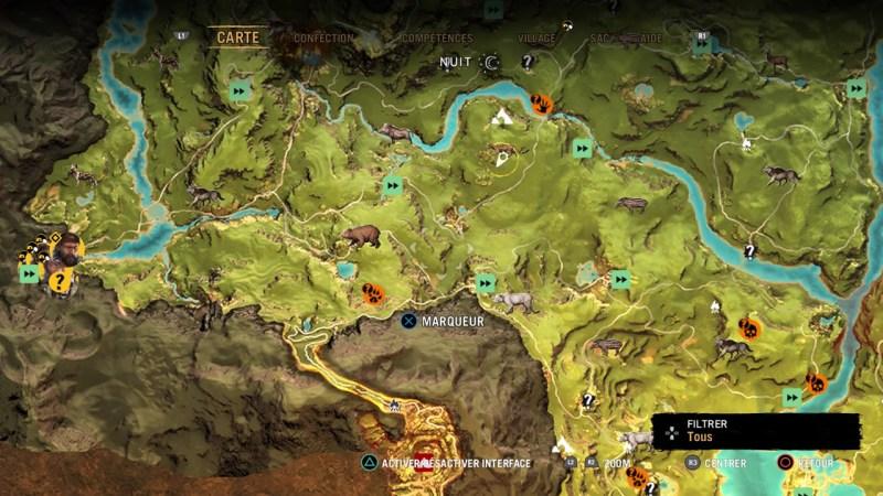 La carte montre les quêtes