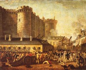 Πίνακας εποχής όπου απεικονίζεται η έφοδος στο φρούριο της Βαστίλης