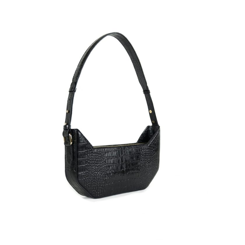 imesmeri cat bag black croco embossed