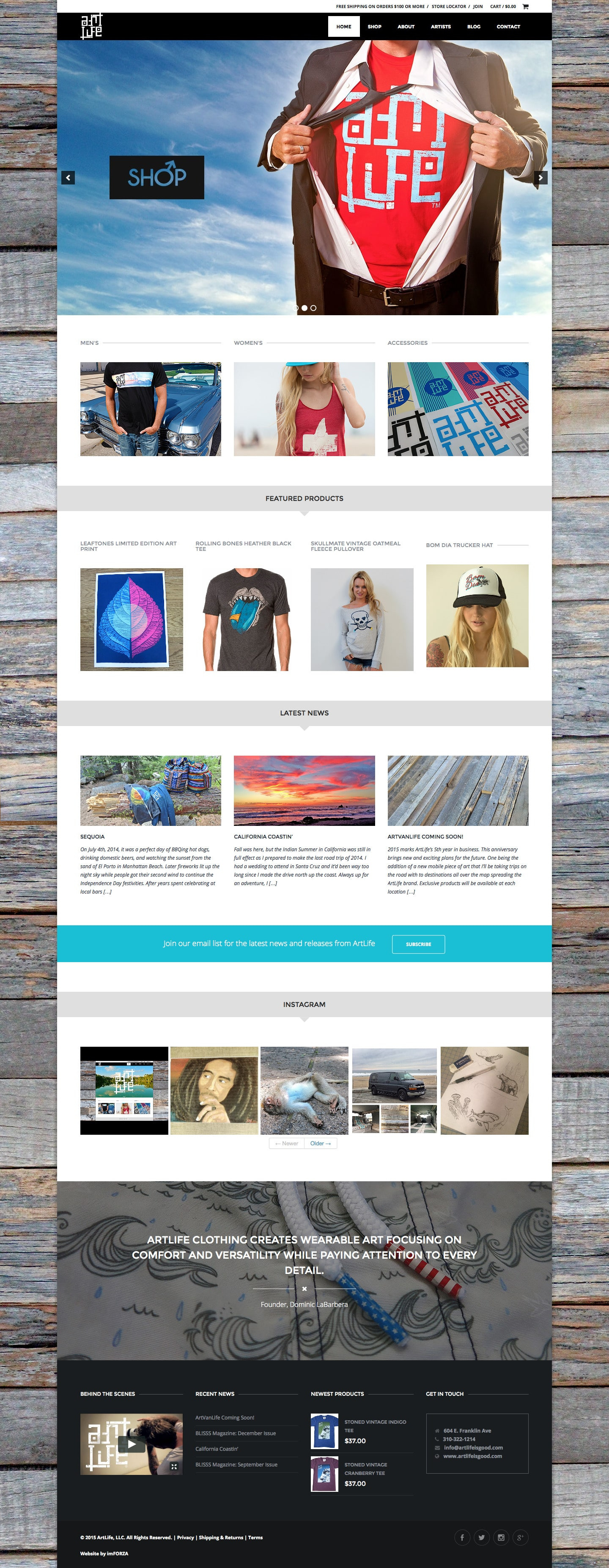 ArtLife Clothing - Custom eCommerce WordPress Website by imFORZA