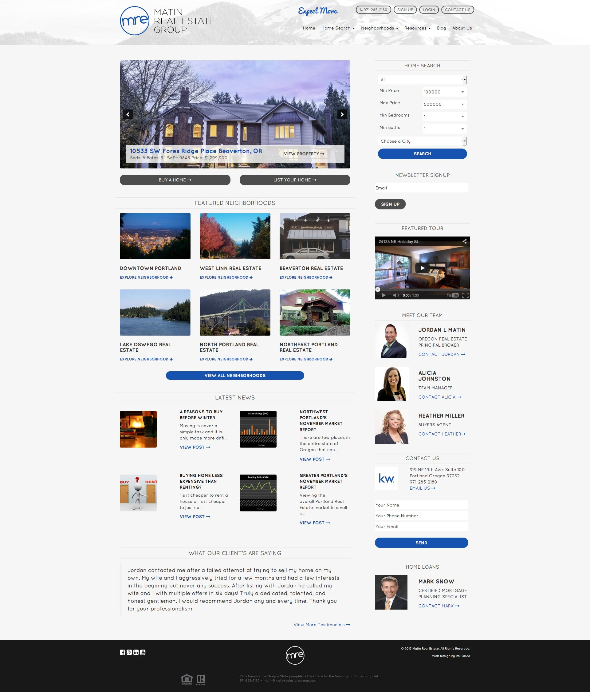 Matin Real Estate Group - Custom IDX Website by imFORZA