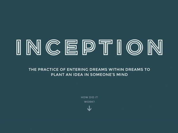 Visual Storytelling Example: Inception