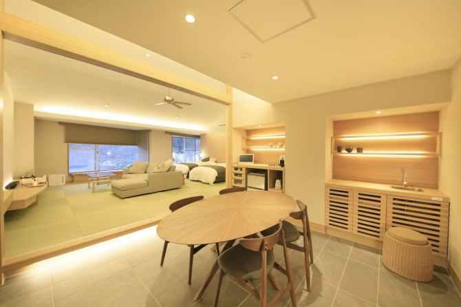 【谷川温泉 旅館たにがわ】新・和モダンベット客室(ツイン・バリアフリー・デラックスルーム)74平米